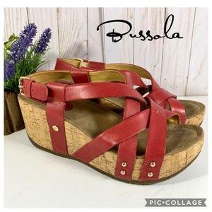 "Bussola ""Frida"" dusty red strappy cork wedge 40"